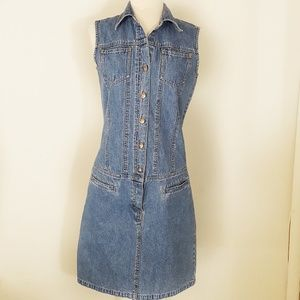 Vintage 90s Denim Button Front Sleeveless Dress